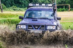 Nissan Patrol. ASHA, RUSSIA - JULY 18, 2015: Off-road vehicle Nissan Patrol at the dirt road Stock Photography