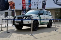 Nissan Patrol van de Politiewagen van Doubai is bij de de Motorshow 2017 van Doubai Royalty-vrije Stock Fotografie
