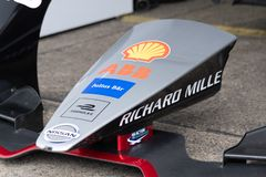 Nissan race car, detail. Berlin, Germany - May 25, 2019: Julius Baer, Nissan, Richard Mille, Shell, and EFACEC Power Solutions sponsors on race cars royalty free stock photo