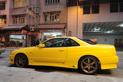 Nissan Skyline parking in Hong Kong Stock Image