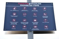 Nissan Stadium a interdit des articles Image libre de droits