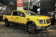 A Nissan Titan XD at the 2016 New York International Auto Show. NEW YORK - MARCH 23: A Nissan Titan XD at the 2016 New York International Auto Show during Press Stock Photo