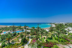 Nissi beach,ayia napa cyprus. A panoramic view of nissi beach,ayia napa cyprus Royalty Free Stock Photography