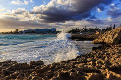Nissi beach in Ayia Napa in stormy weather Stock Photos