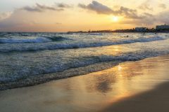 Nissi beach in Ayia Napa in stormy weather Stock Image