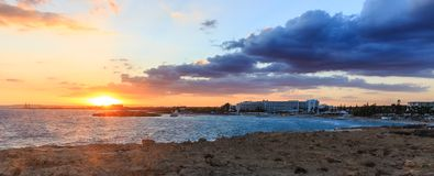 Nissi beach in Ayia Napa in stormy weather Royalty Free Stock Photography