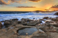 Nissi beach in Ayia Napa in stormy weather Royalty Free Stock Photos