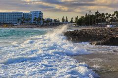 Nissi beach in Ayia Napa in stormy weather Stock Images