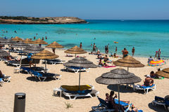 Nissi beach resort. White sand and crystal clear sea water. Cypr Stock Images