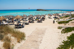 Nissi beach resort. White sand and crystal clear sea water. Cypr Royalty Free Stock Image