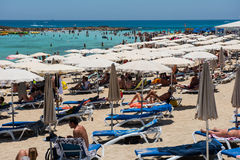 Nissi beach resort. White sand and crystal clear sea water. Cypr Stock Photo