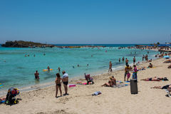 Nissi beach resort. White sand and crystal clear sea water. Cypr Stock Image
