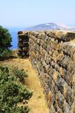 Perspective photo of the Nisyros fortification wall royalty free stock images