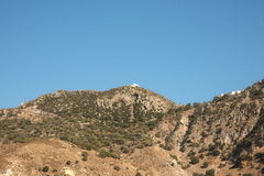 Nisyros Montain and church in Greece royalty free stock photos