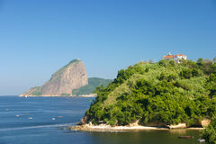 Niterói and Rio de Janeiro landscape. The Sugar Loaf mountain and guanabara bay seen from Niteroi Royalty Free Stock Image