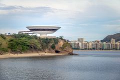 Niteroi Contemporary Art Museum - MAC - and city skyline - Niteroi, Rio de Janeiro, Brazil royalty free stock images
