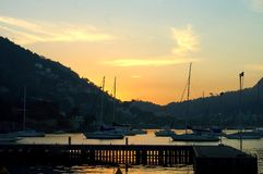 Niteroi harbor sunset Stock Photo