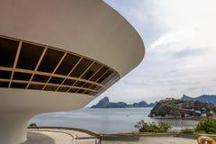 Niteroi moderna Art Museum - MAC - Niteroi, Rio de Janeiro, Brasilien royaltyfria foton