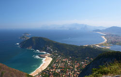 Niteroi and Rio de Janeiro view from the Mourao Mo. Untain top, Brazil Royalty Free Stock Photo