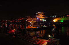Niteview of chinese town2. Nite view of chinese town showing colourful spot lights and shades Royalty Free Stock Photos