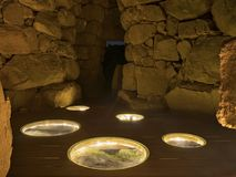 Night view interior of nuraghe La Prisgiona royalty free stock photography