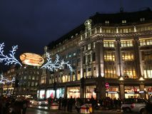 nitgtsikt av london oxford cirklar Fotografering för Bildbyråer