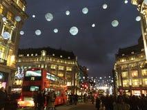 nitgtsikt av london oxford cirklar Royaltyfri Foto