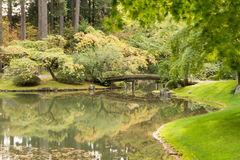 Nitobe Garden Bridge. Japanese Garden in UBC Endowment lands Royalty Free Stock Photo