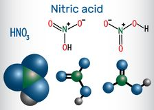 Free Nitric Acid HNO3 Molecule . It Is A Highly Corrosive Mineral Royalty Free Stock Photo - 112211765