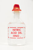 Nitric acid in a labeled bottle Stock Photography