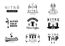 Nitro cold brew coffee logo design. Black and white vector illustration stock illustration