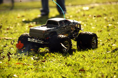 Nitro RC Model Truck With Intentional Motion Blur to Represent S. Remote Control Gas Model Truck in Motion Royalty Free Stock Photo