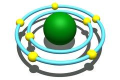 Nitrogen atom on white background. 3d illustration of nitrogen atom Stock Photography