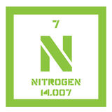 Nitrogen chemical element. Nitrogen, chemical element. Common element in the universe. Colored icon with atomic number and atomic weight. Chemical element of Stock Images