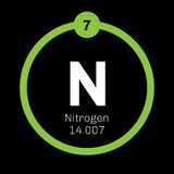 Nitrogen chemical element. Nitrogen, chemical element. Common element in the universe. Colored icon with atomic number and atomic weight. Chemical element of Royalty Free Stock Images