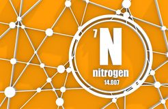 Nitrogen chemical element. Sign with atomic number and atomic weight. Chemical element of periodic table. Molecule And Communication Background. Connected Stock Photos