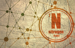 Nitrogen chemical element. Sign with atomic number and atomic weight. Chemical element of periodic table. Molecule And Communication Background. Connected Royalty Free Stock Images