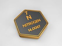 Nitrogen - N - chemical element periodic table hexagonal shape. 3d illustration Stock Photography