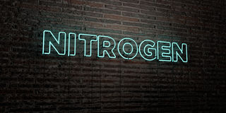 NITROGEN -Realistic Neon Sign on Brick Wall background - 3D rendered royalty free stock image. Can be used for online banner ads and direct mailers stock illustration