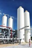 Nitrogen storage tank, Industrial storehouses Stock Photo