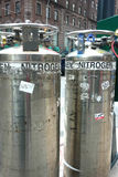 Nitrogen Tanks. In Midtown Manhattan. The tanks are used to pump nitrogen gas into the phone lines to keep them dry Royalty Free Stock Photo