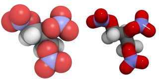 Nitroglycerol: moleculaire (3D) structuur Stock Fotografie