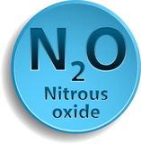 Nitrous oxide. Blue button with nitrous oxide. eps10 Stock Photos