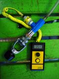 Nitrox analyzer. This is a Nitrox analyzer on a green bench stock photography