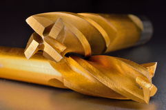 Nitrure titanique de cannelure des coupeurs de fraisage 4 enduite Photos libres de droits
