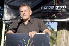 Nitzan Horowitz, das an der Stolz-Parade spricht Stockbilder