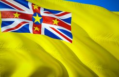 Niue flag. 3D Waving flag design. The national symbol of Niue, 3D rendering. Niue 3D Waving sign design. Waving sign background. Wallpaper. 3D pattern royalty free stock photo