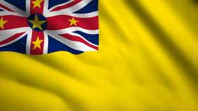 Niue flag Motion video waving in wind. Flag Closeup 1080p HD  footage stock illustration