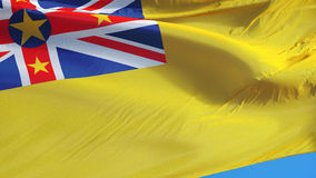Niue flag in slow motion seamlessly looped with alpha. Niue flag waving in slow motion against clean blue sky, seamlessly looped, close up, isolated on alpha stock video