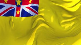 Niue flag waving in wind continuous seamless loop background. stock illustration